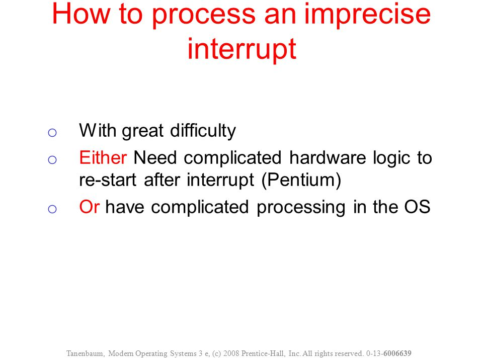 How to process an imprecise interrupt