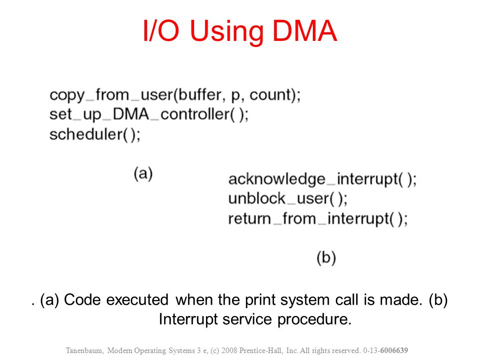 I/O Using DMA . (a) Code executed when the print system call is made. (b) Interrupt service procedure.
