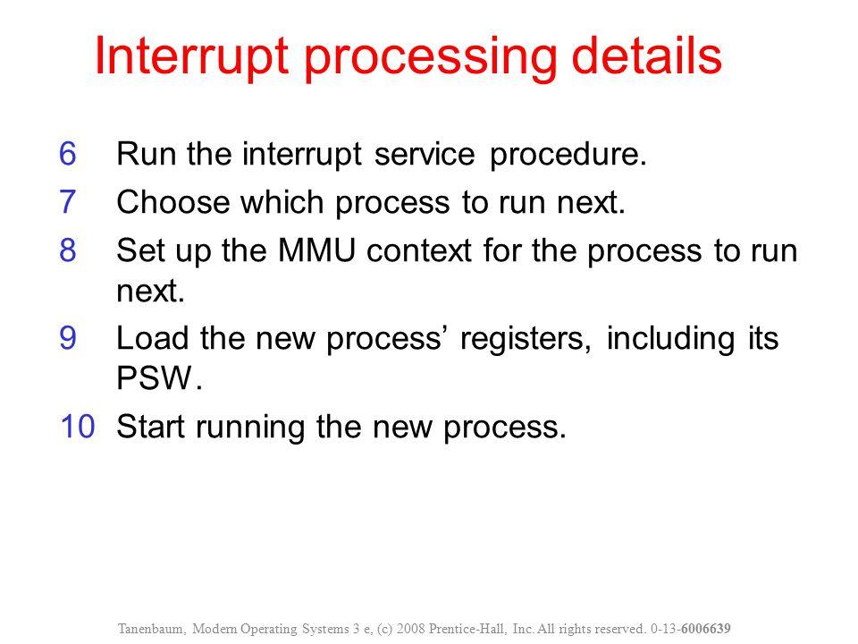 Interrupt processing details