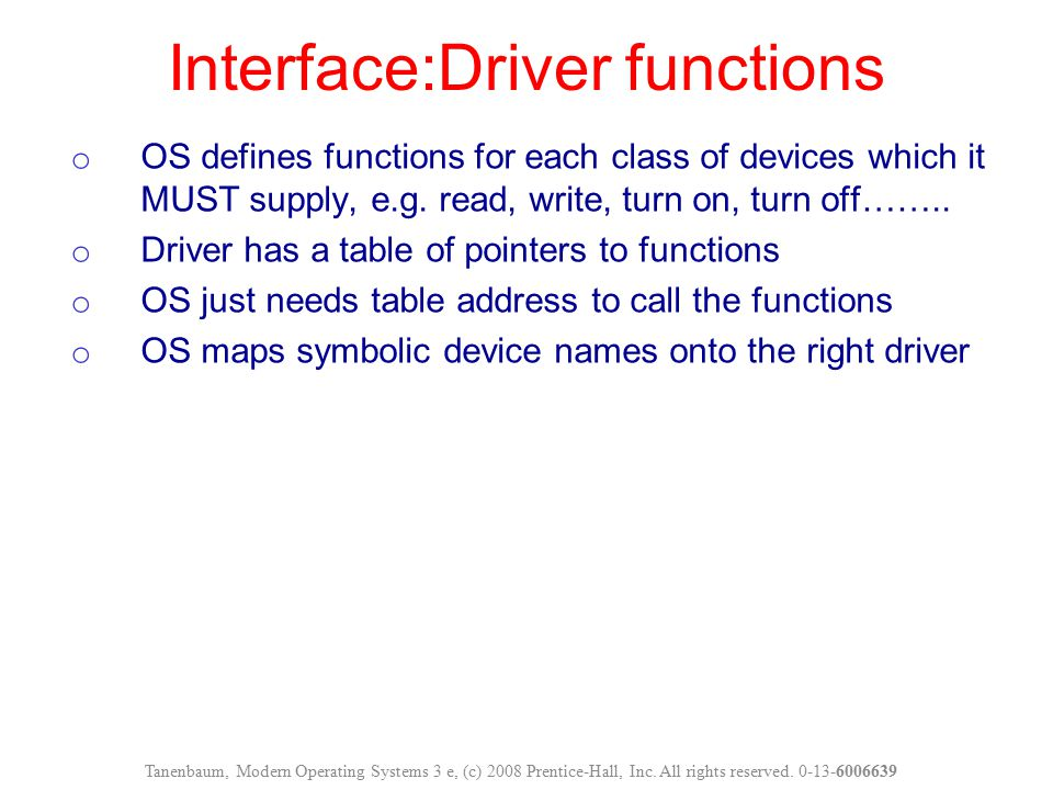 Interface:Driver functions