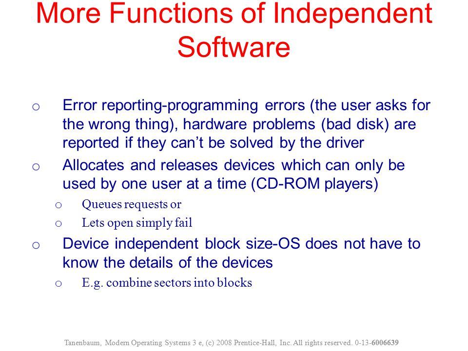 More Functions of Independent Software