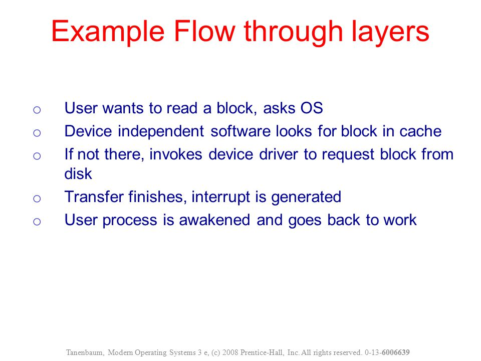 Example Flow through layers
