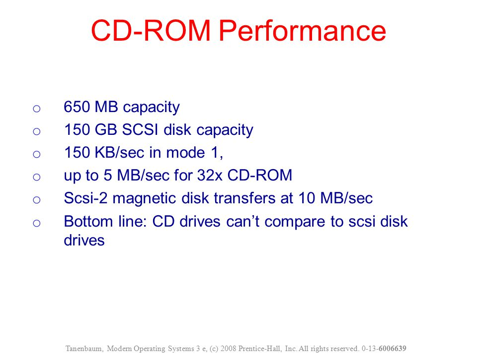 CD-ROM Performance 650 MB capacity 150 GB SCSI disk capacity