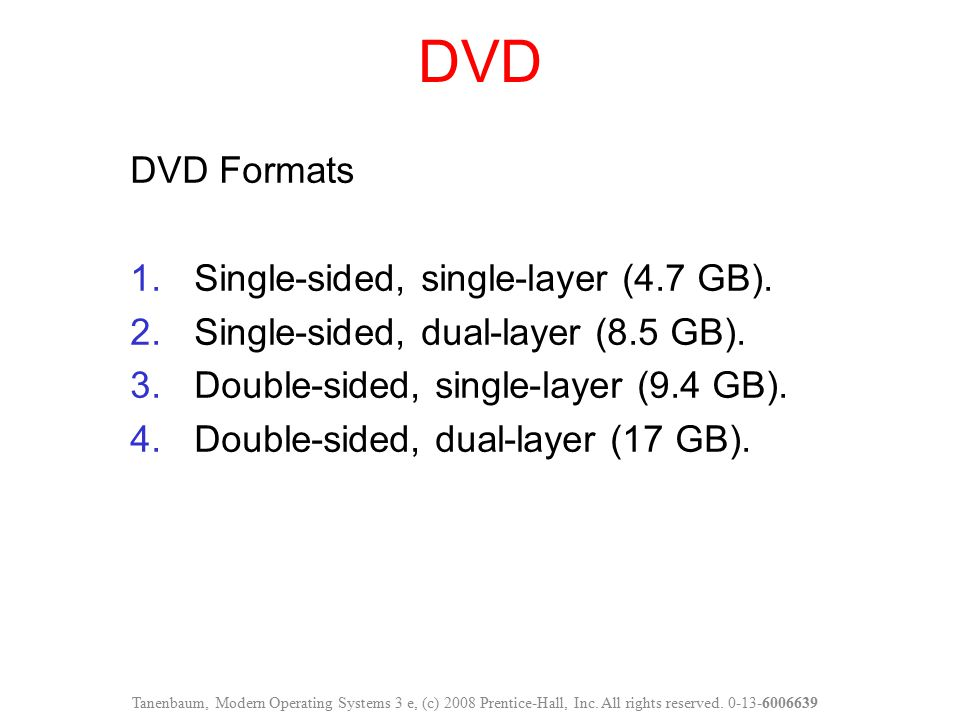 DVD DVD Formats Single-sided, single-layer (4.7 GB).