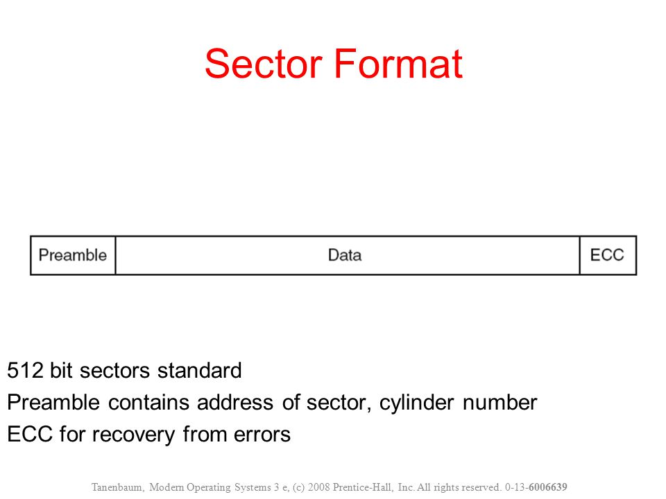 Sector Format 512 bit sectors standard Preamble contains address of sector, cylinder number ECC for recovery from errors
