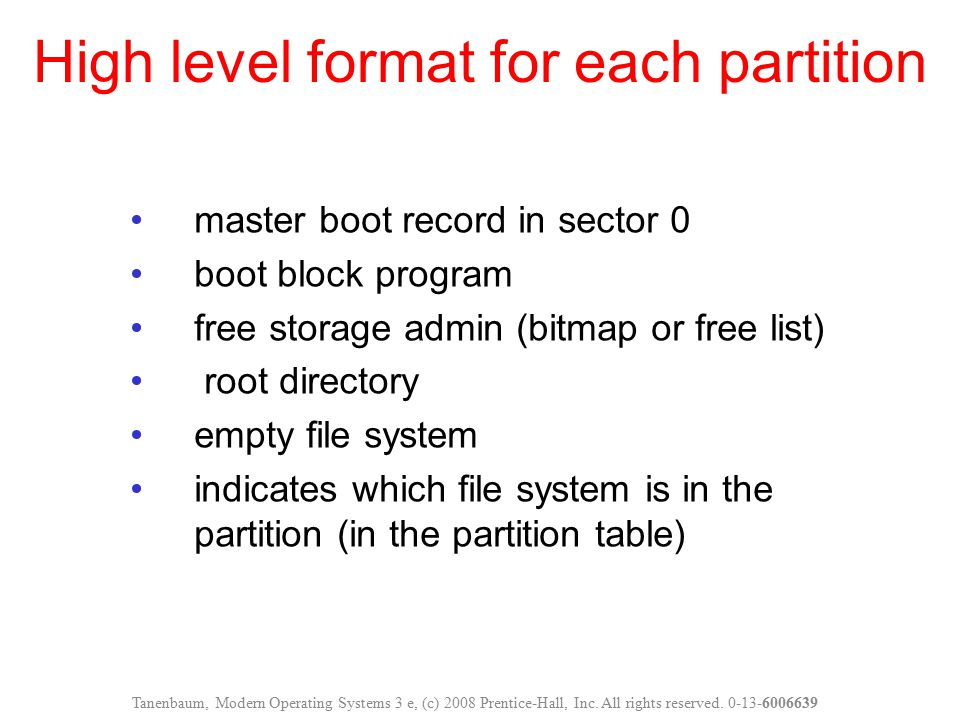 High level format for each partition