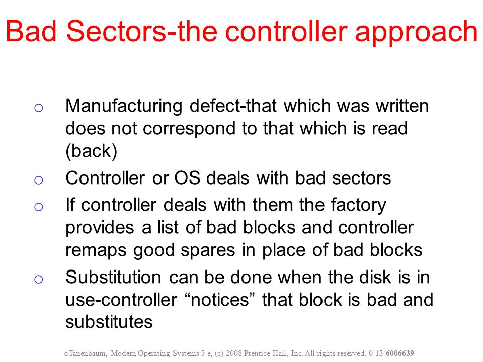 Bad Sectors-the controller approach