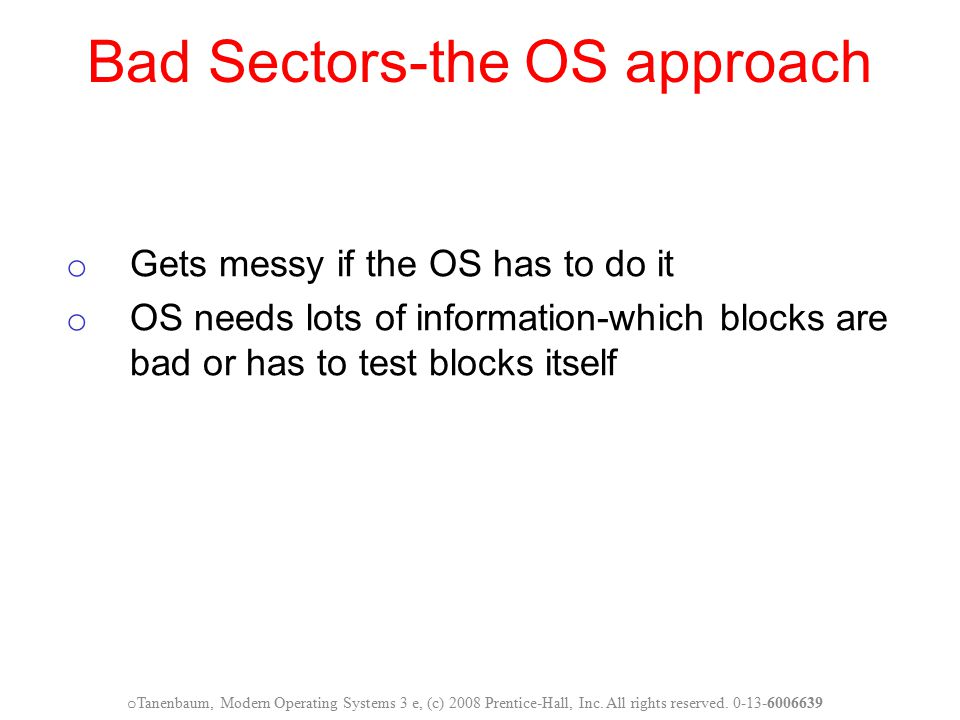 Bad Sectors-the OS approach