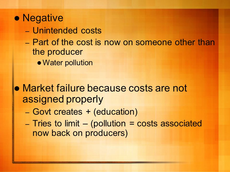 Market failure because costs are not assigned properly