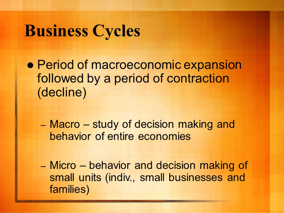 Business Cycles Period of macroeconomic expansion followed by a period of contraction (decline)