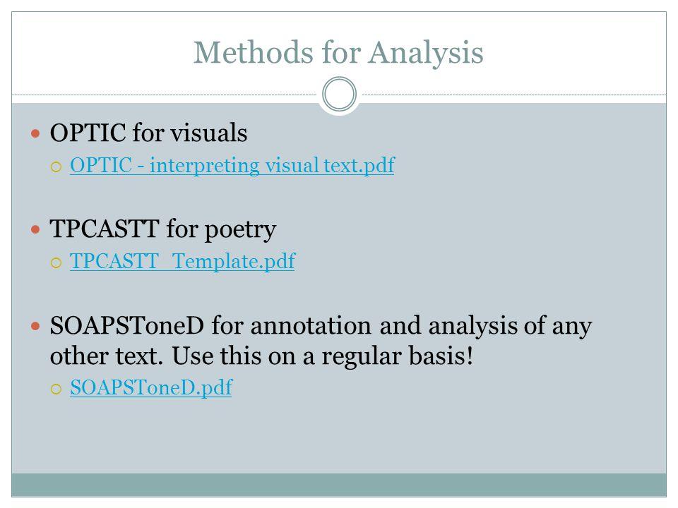 Methods for Analysis OPTIC for visuals TPCASTT for poetry