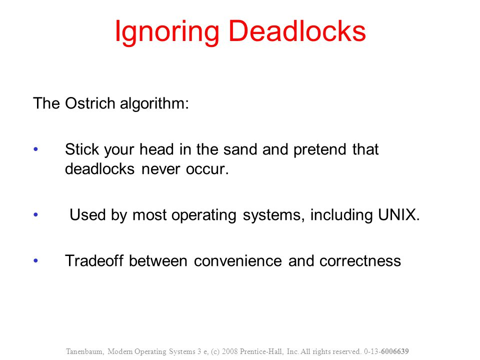 Ignoring Deadlocks The Ostrich algorithm: