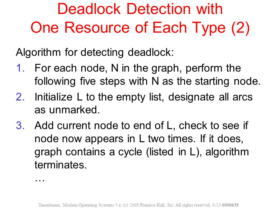 Deadlock Detection with One Resource of Each Type (2)
