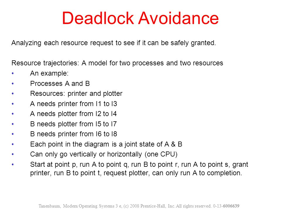 Deadlock Avoidance Analyzing each resource request to see if it can be safely granted.