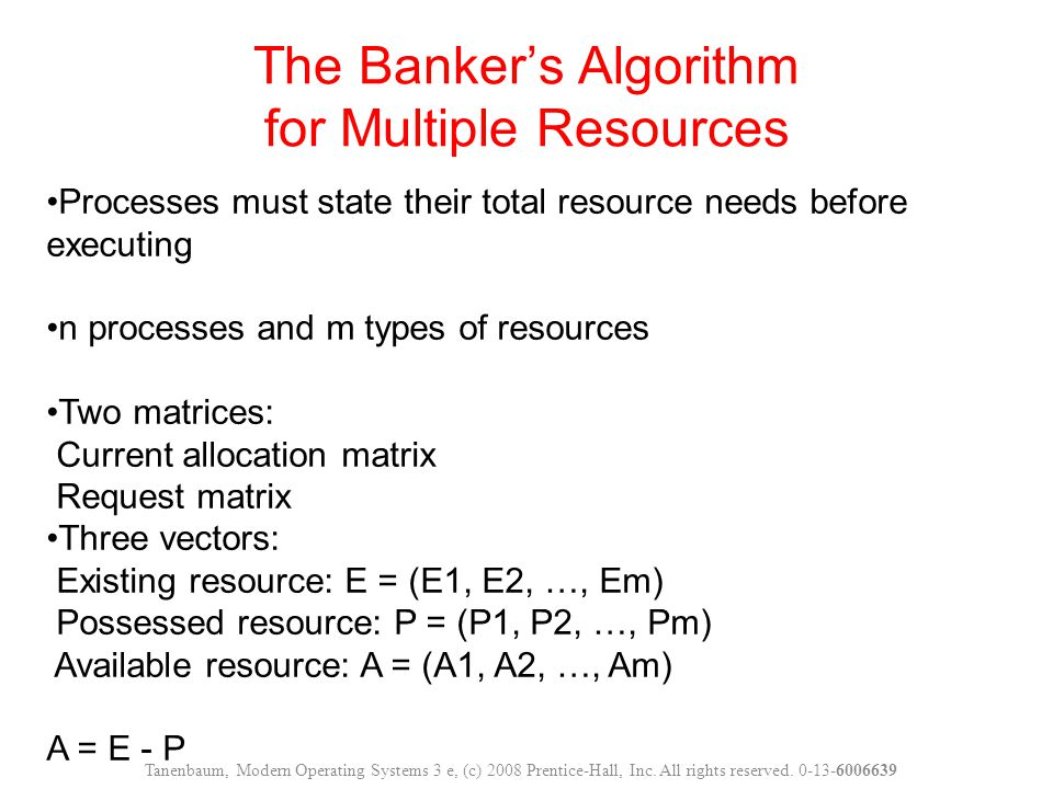 The Banker's Algorithm for Multiple Resources