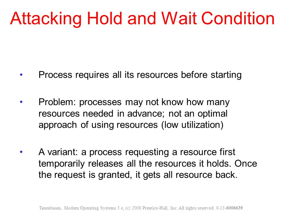 Attacking Hold and Wait Condition