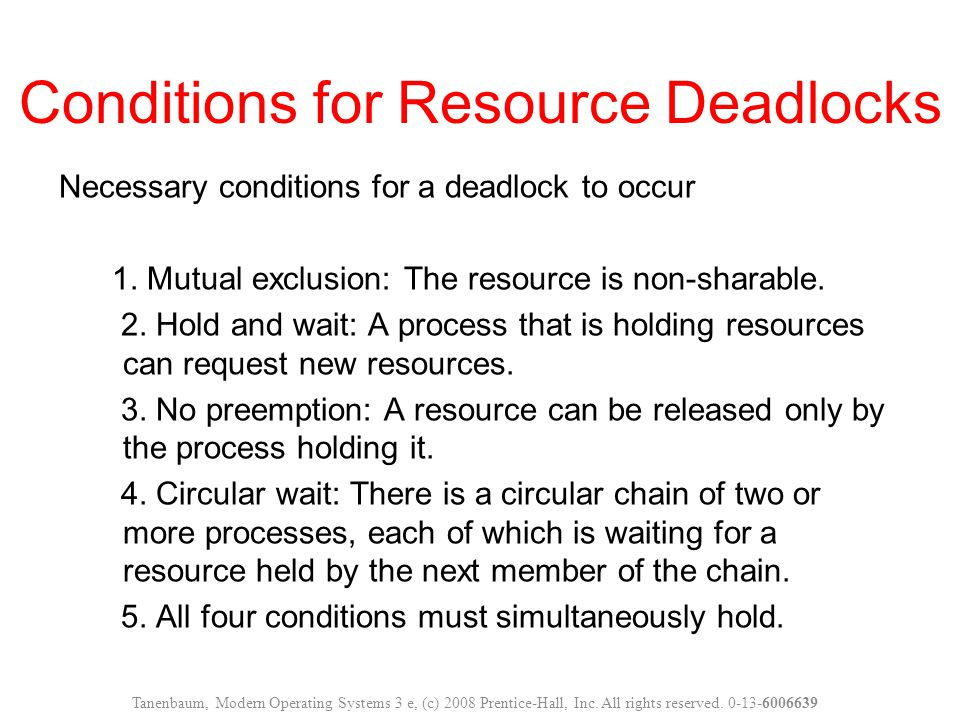 Conditions for Resource Deadlocks