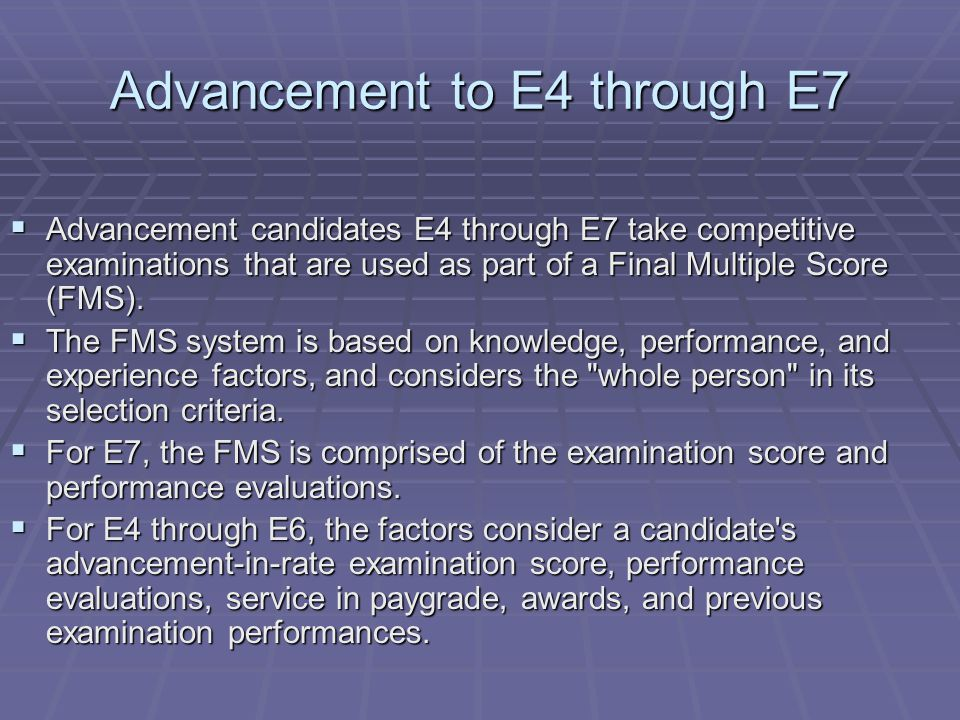 Advancement to E4 through E7