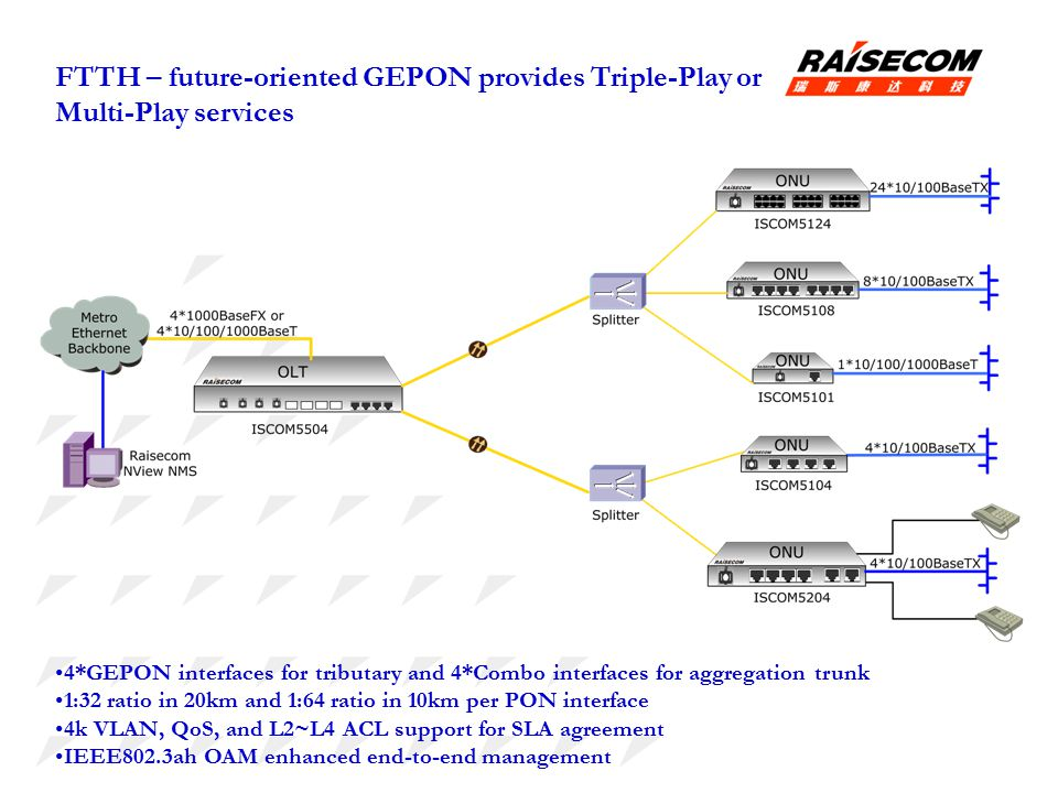 FTTH – future-oriented GEPON provides Triple-Play or Multi-Play services