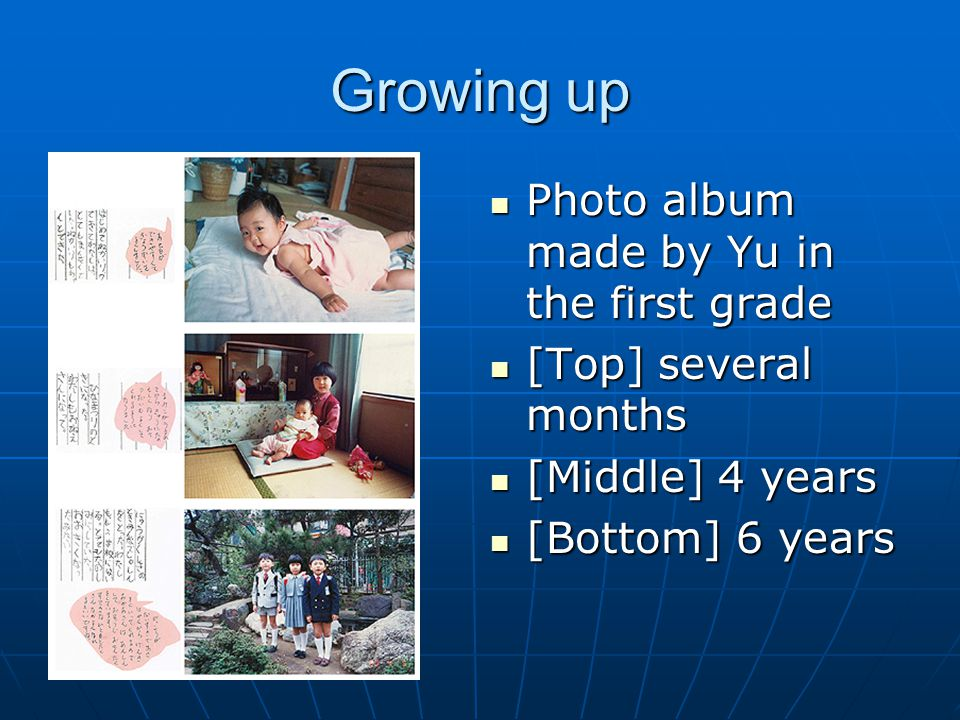 Growing up Photo album made by Yu in the first grade