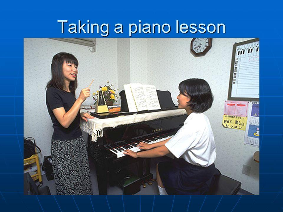 Taking a piano lesson