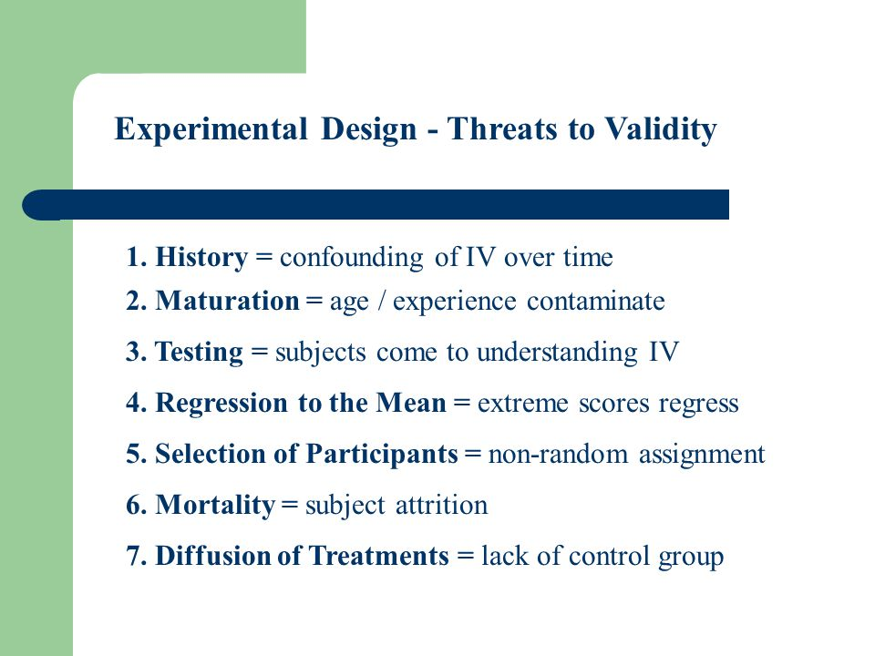 Experimental Design - Threats to Validity