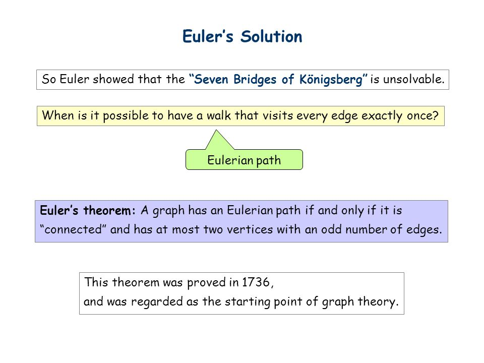 Euler's Solution So Euler showed that the Seven Bridges of Königsberg is unsolvable.