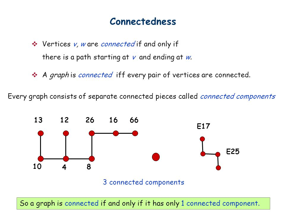 Connectedness Vertices v, w are connected if and only if