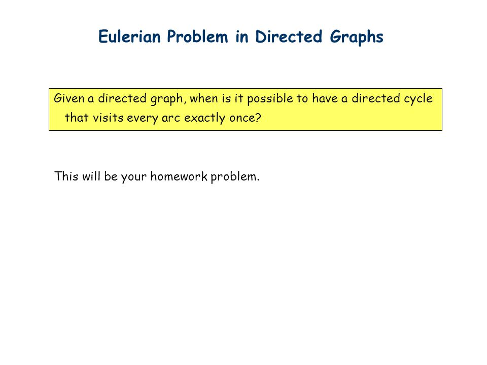 Eulerian Problem in Directed Graphs