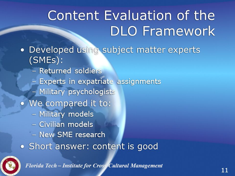 Content Evaluation of the DLO Framework