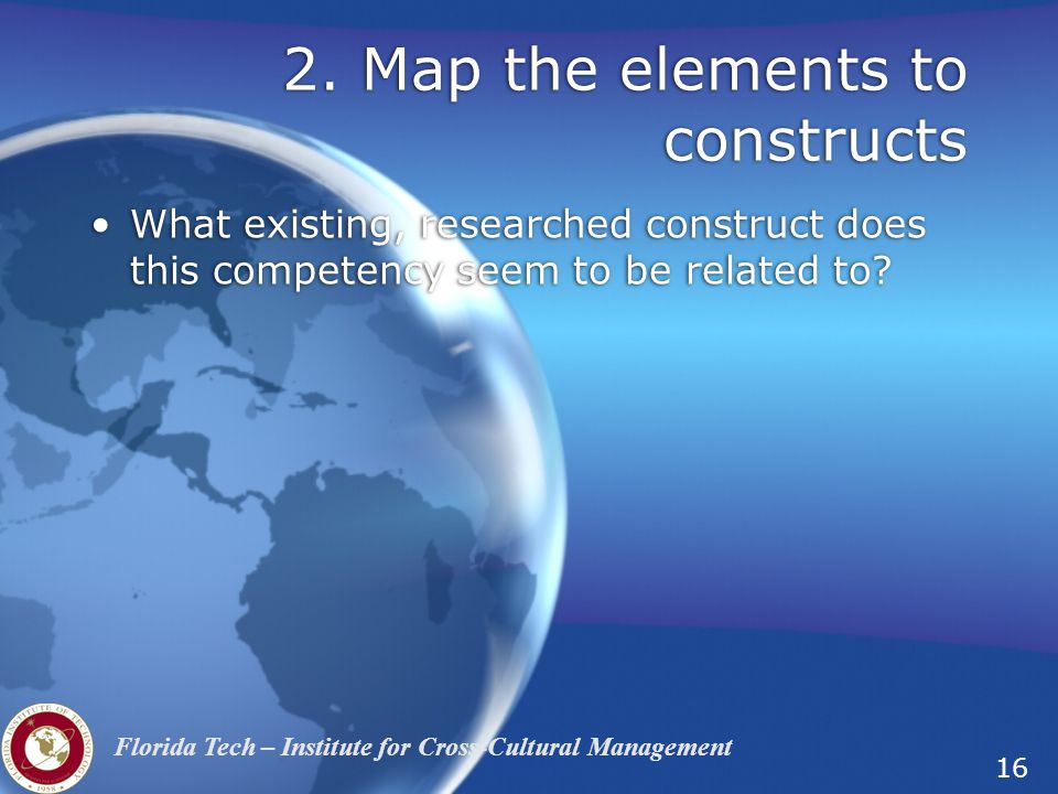 2. Map the elements to constructs
