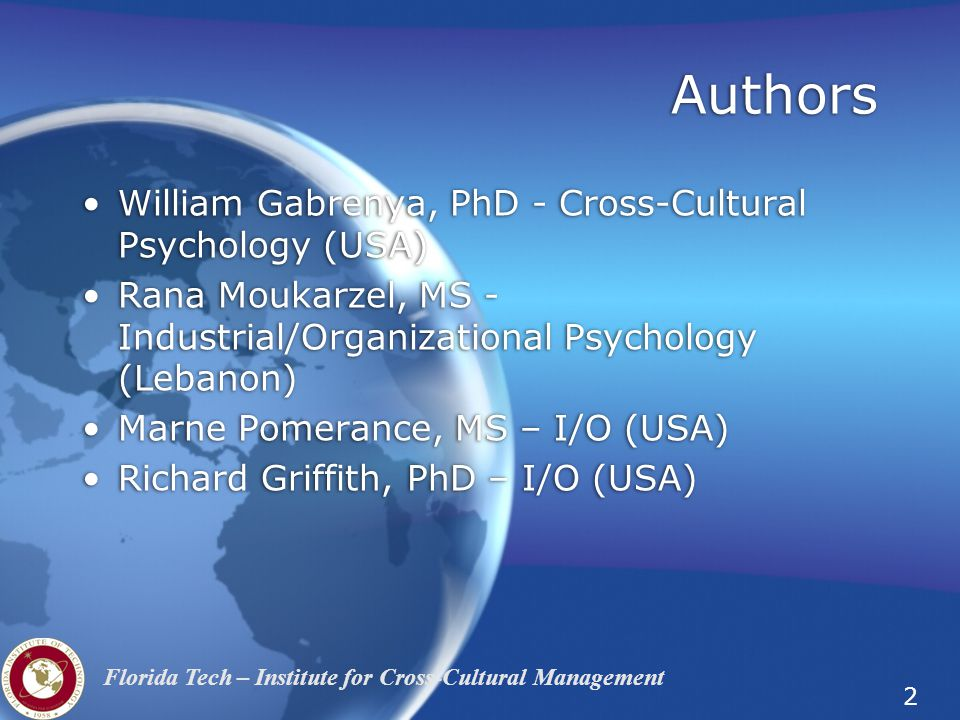 Authors William Gabrenya, PhD - Cross-Cultural Psychology (USA)
