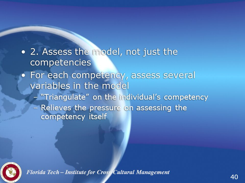 2. Assess the model, not just the competencies