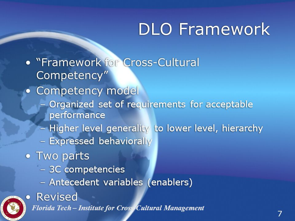 DLO Framework Framework for Cross-Cultural Competency