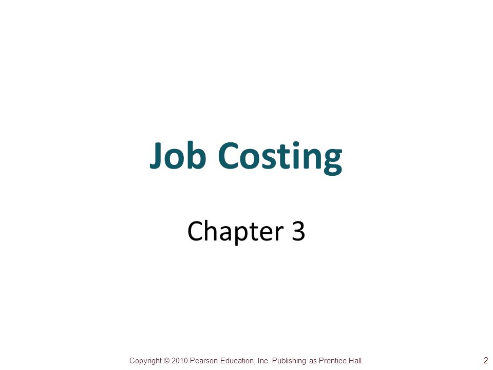 Job Costing Chapter 3 2 1 1
