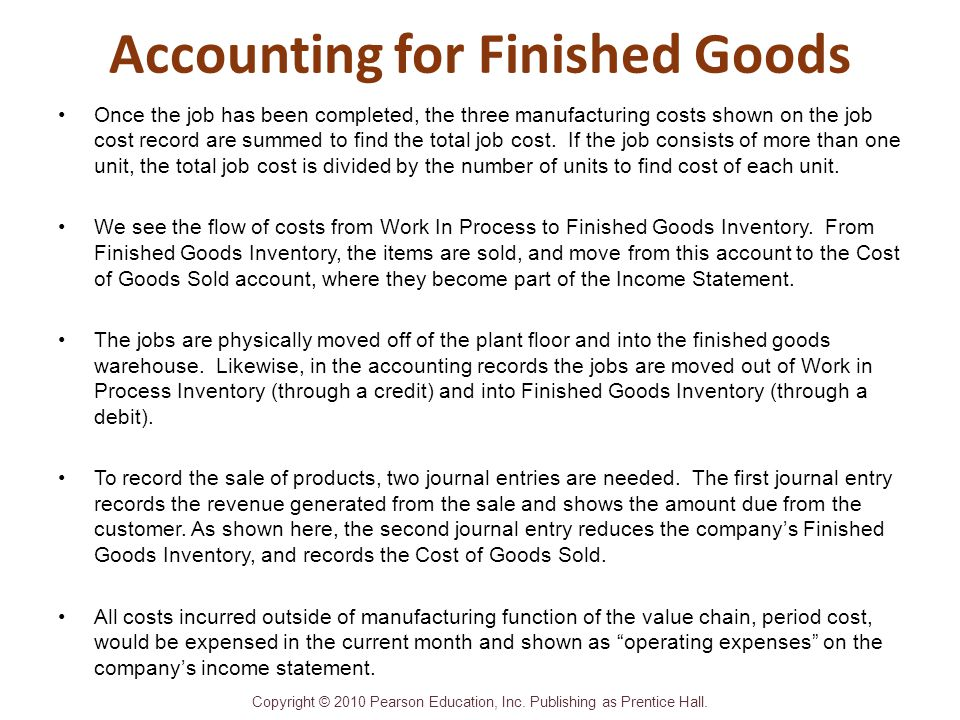 Accounting for Finished Goods