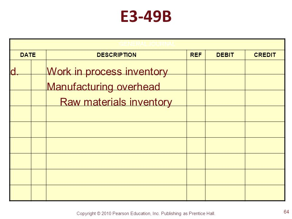 E3-49B d. Work in process inventory Manufacturing overhead
