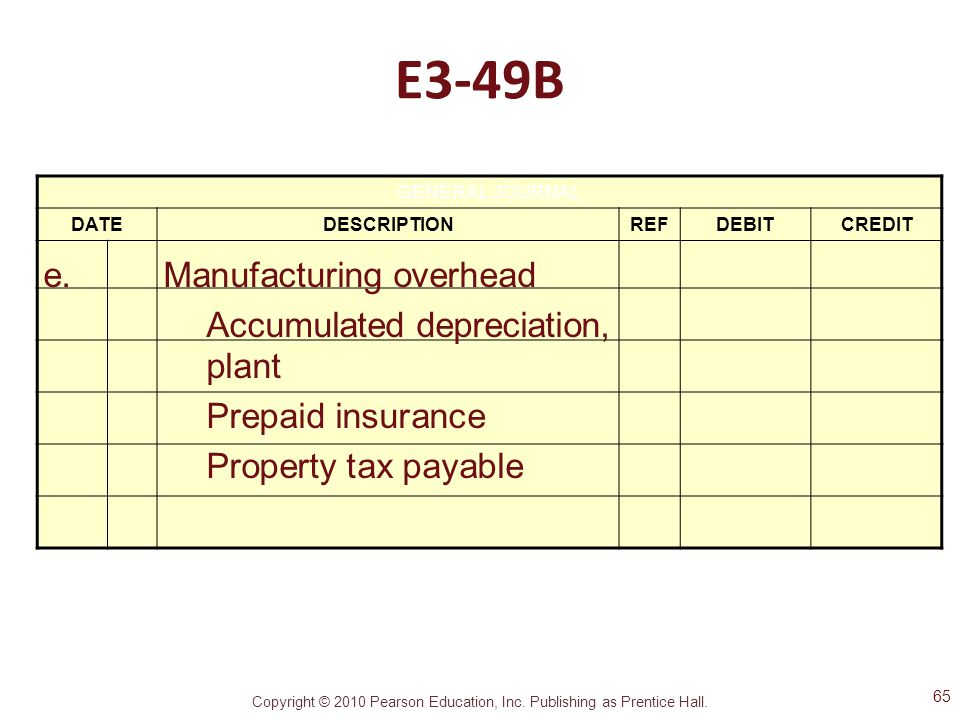 E3-49B e. Manufacturing overhead Accumulated depreciation, plant