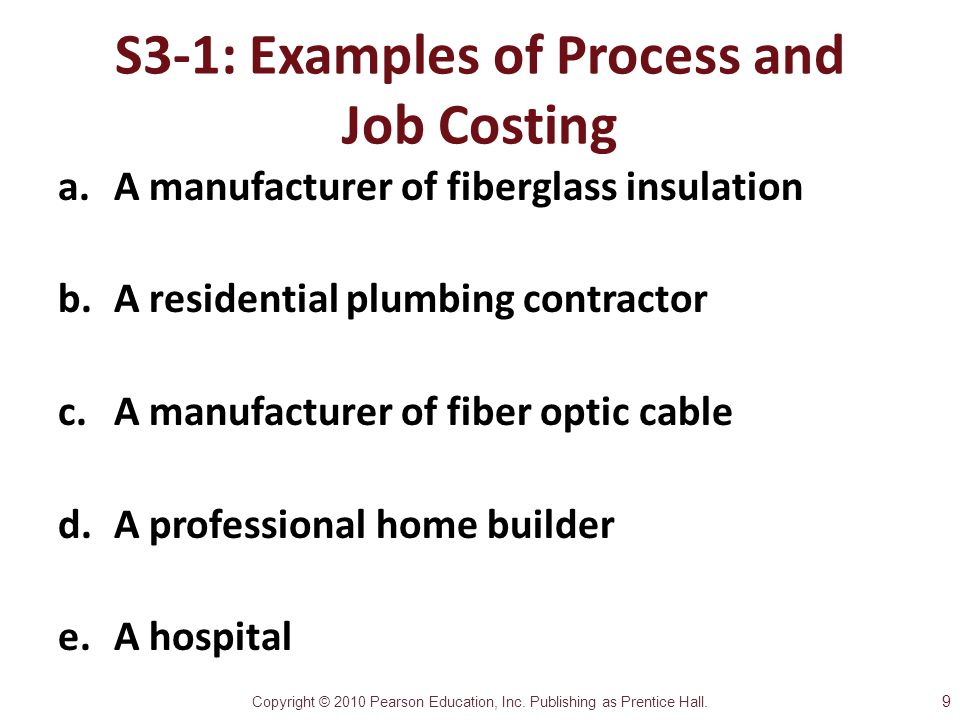 S3-1: Examples of Process and Job Costing