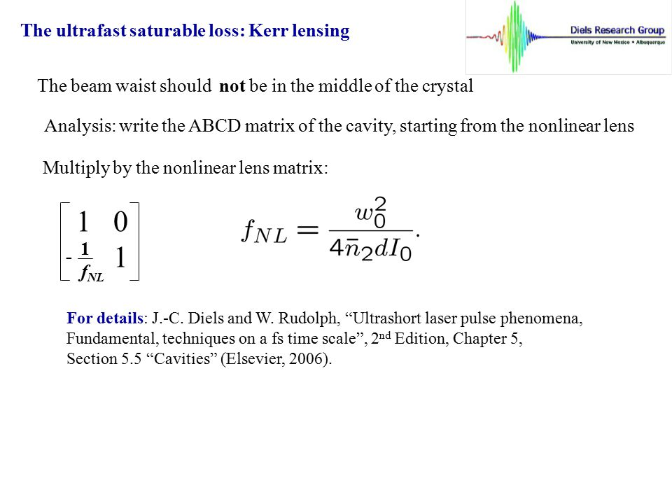 1 0 1 The ultrafast saturable loss: Kerr lensing