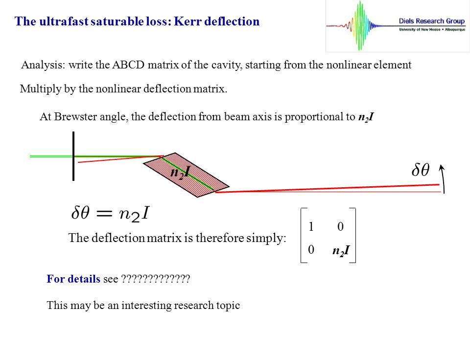 n2I The ultrafast saturable loss: Kerr deflection 1 0