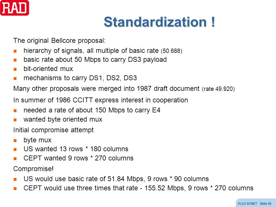 Standardization ! The original Bellcore proposal: