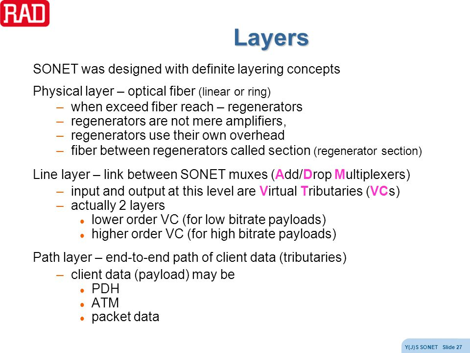 Layers SONET was designed with definite layering concepts