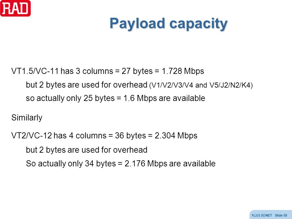 Payload capacity VT1.5/VC-11 has 3 columns = 27 bytes = 1.728 Mbps