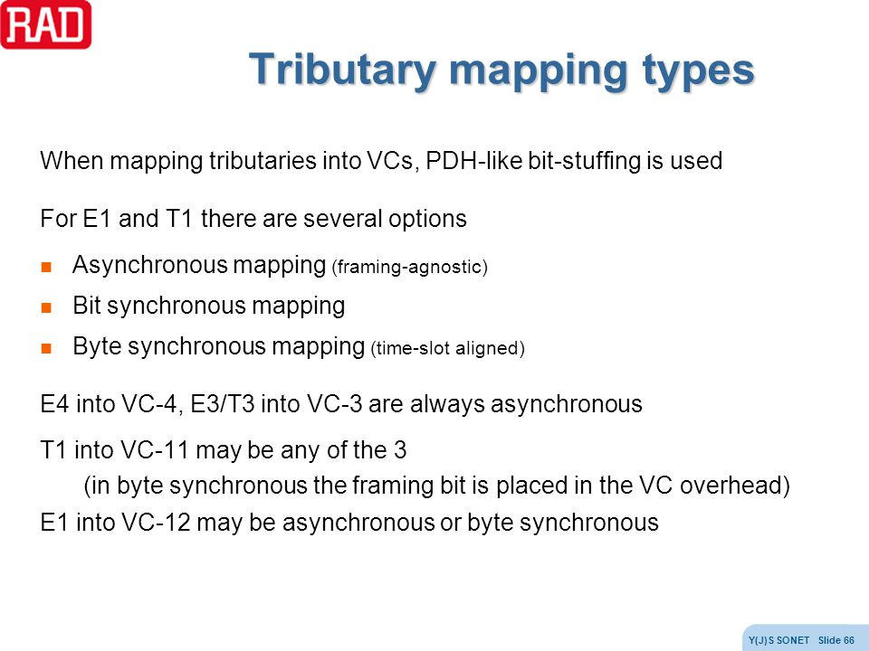Tributary mapping types