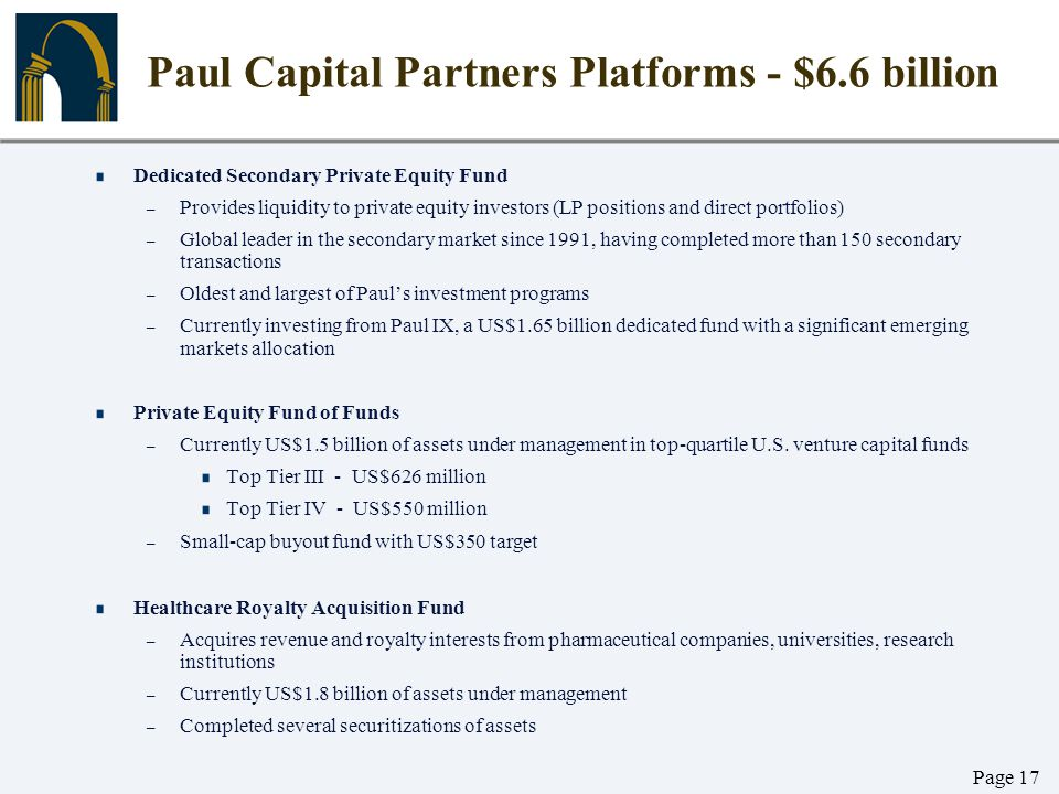 Paul Capital Partners Platforms - $6.6 billion