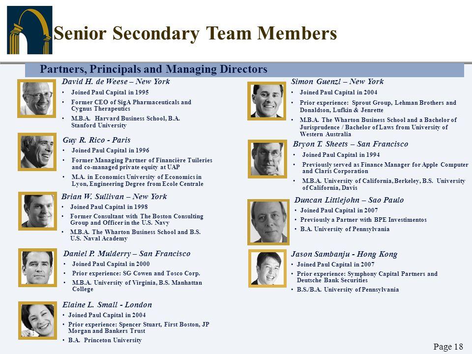 Partners, Principals and Managing Directors