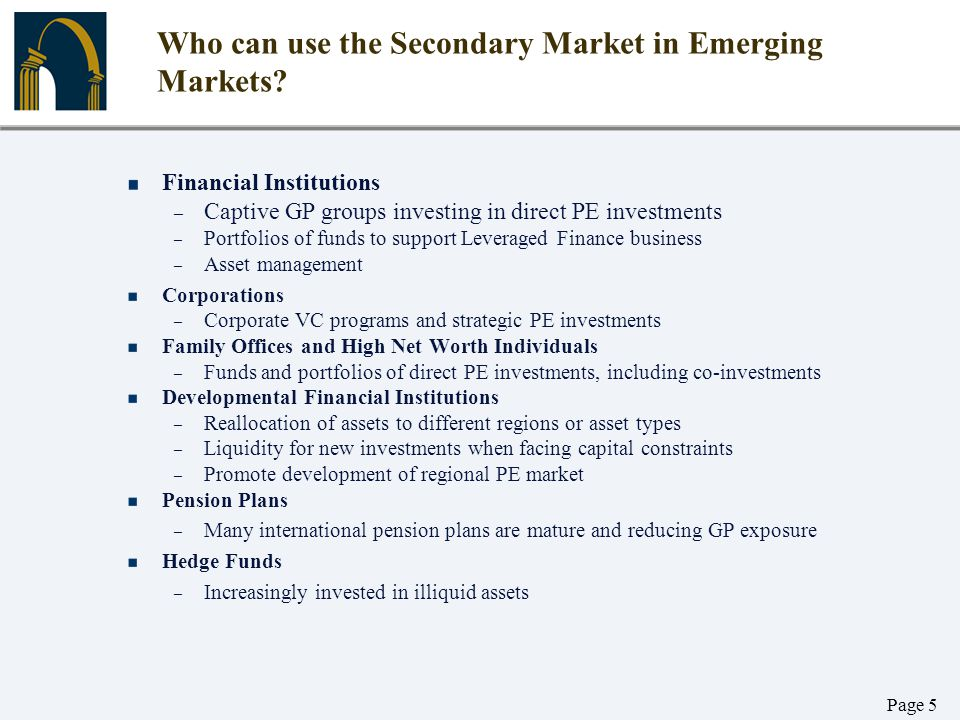 Who can use the Secondary Market in Emerging Markets