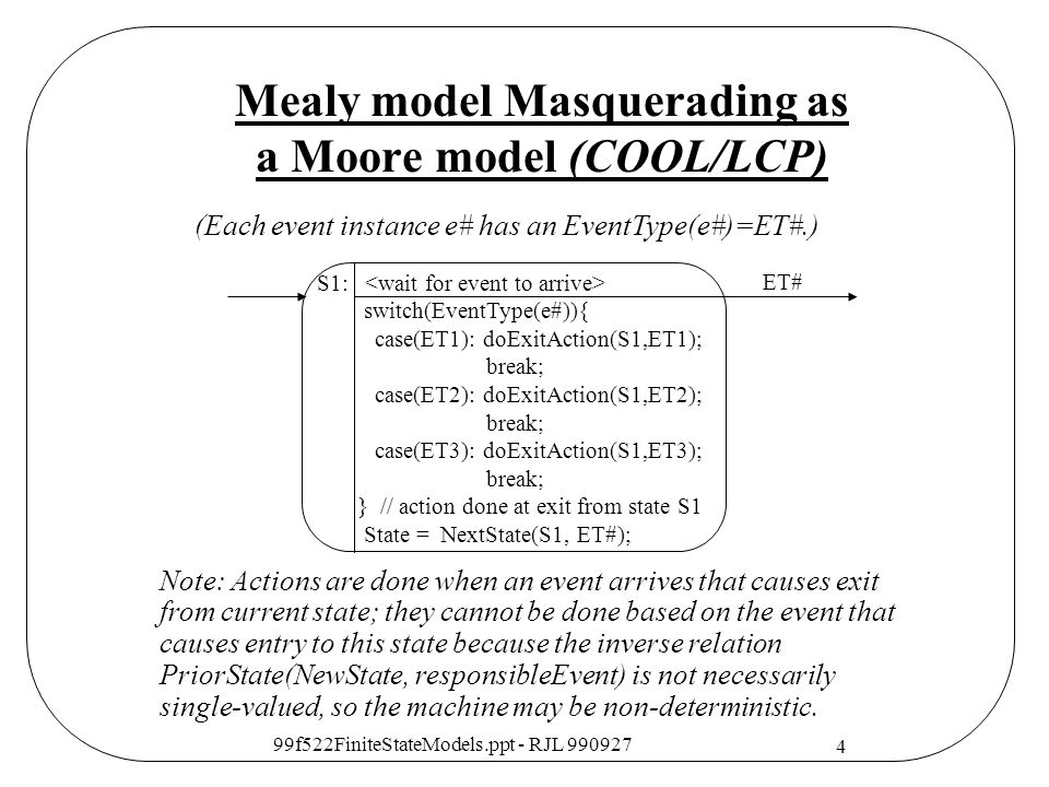 Mealy model Masquerading as a Moore model (COOL/LCP)