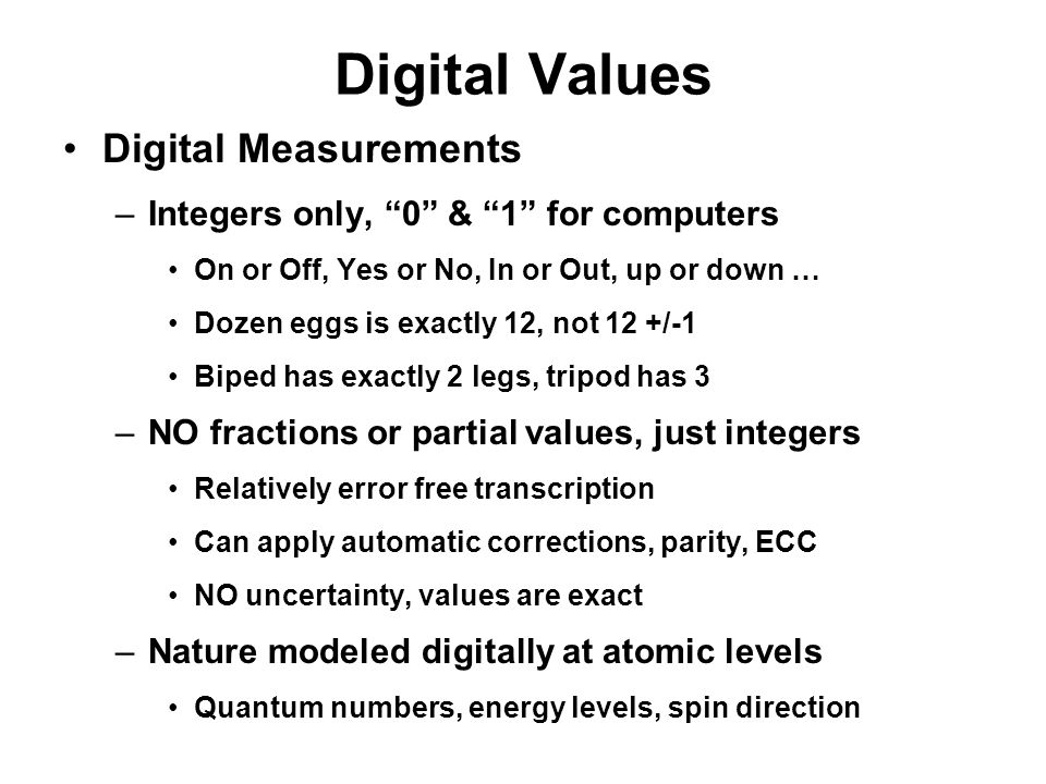 Digital Values Digital Measurements
